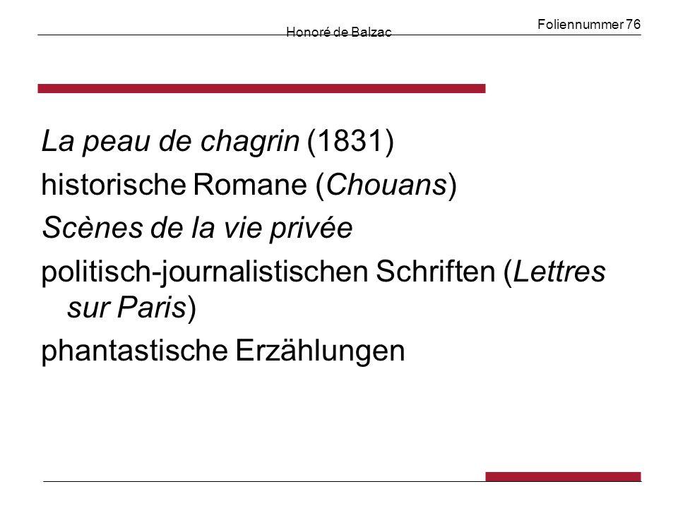 Foliennummer 76 Honoré de Balzac La peau de chagrin (1831) historische Romane (Chouans) Scènes de la vie privée politisch-journalistischen Schriften (Lettres sur Paris) phantastische Erzählungen