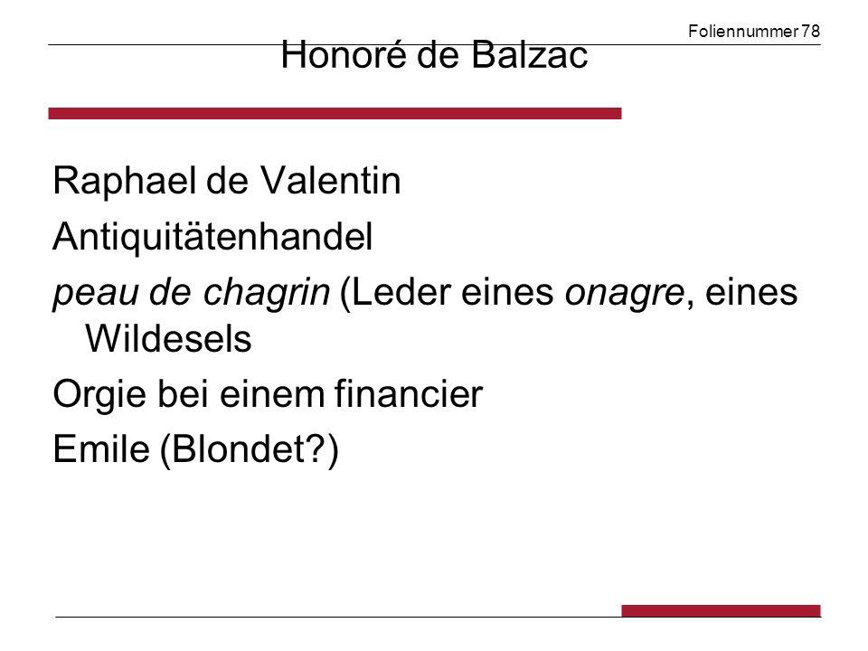 Foliennummer 78 Honoré de Balzac Raphael de Valentin Antiquitätenhandel peau de chagrin (Leder eines onagre, eines Wildesels Orgie bei einem financier Emile (Blondet )