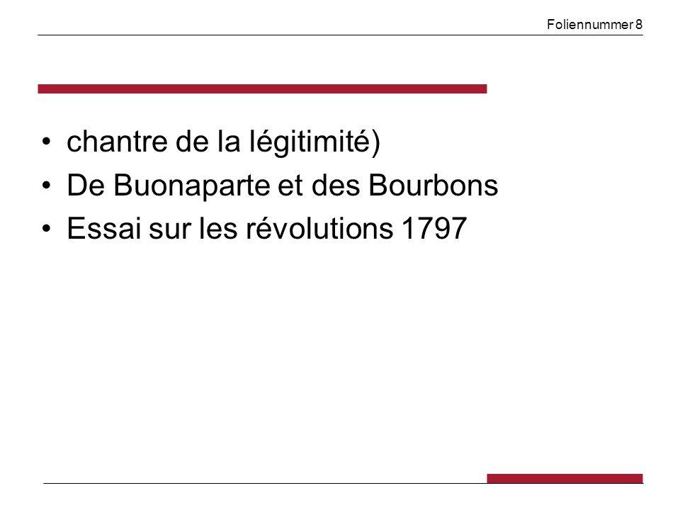 Foliennummer 8 chantre de la légitimité) De Buonaparte et des Bourbons Essai sur les révolutions 1797