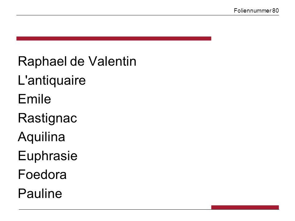 Foliennummer 80 Raphael de Valentin L'antiquaire Emile Rastignac Aquilina Euphrasie Foedora Pauline