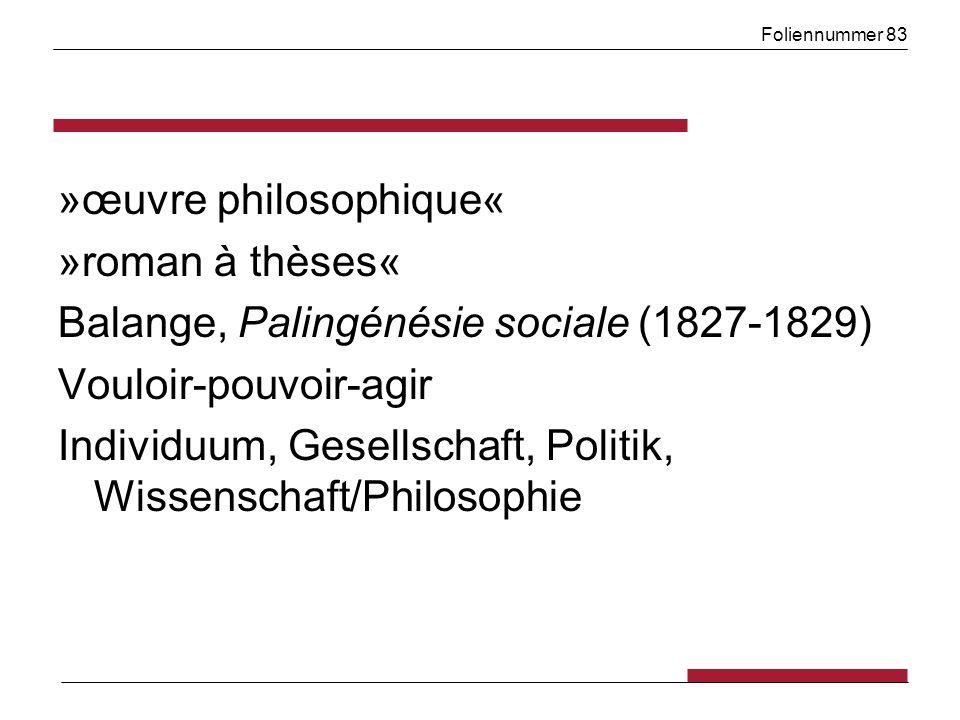 Foliennummer 83 »œuvre philosophique« »roman à thèses« Balange, Palingénésie sociale (1827-1829) Vouloir-pouvoir-agir Individuum, Gesellschaft, Politik, Wissenschaft/Philosophie