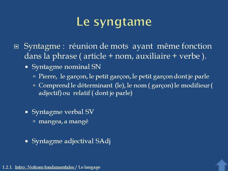 Syntagme : réunion de mots ayant même fonction dans la phrase ( article + nom, auxiliaire + verbe ). Syntagme nominal SN Pierre, le garçon, le petit g