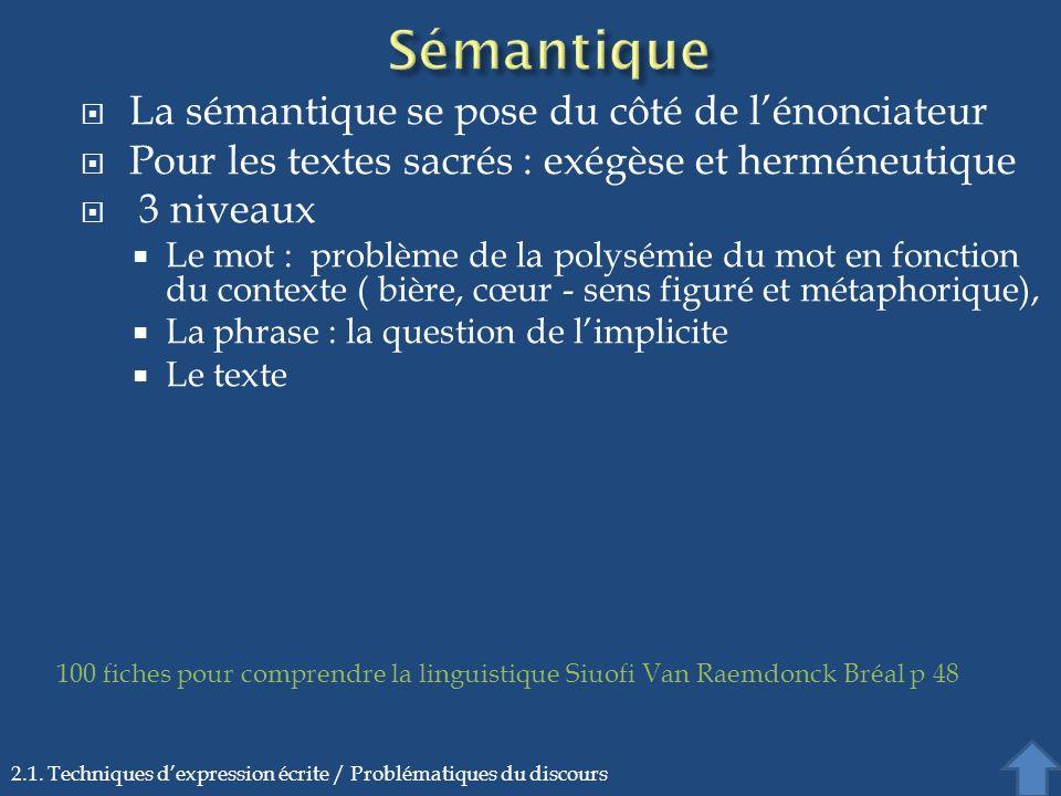La sémantique se pose du côté de lénonciateur Pour les textes sacrés : exégèse et herméneutique 3 niveaux Le mot : problème de la polysémie du mot en