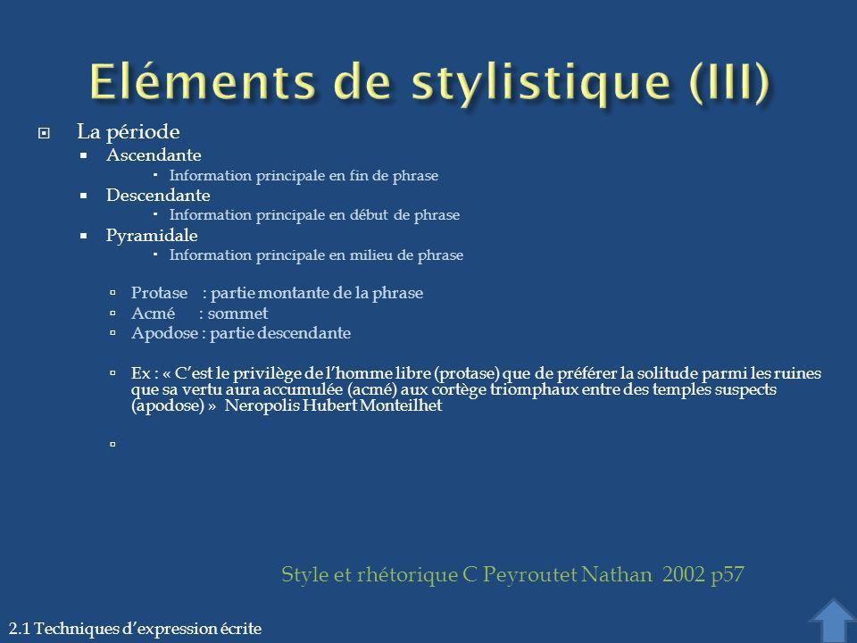 La période Ascendante Information principale en fin de phrase Descendante Information principale en début de phrase Pyramidale Information principale