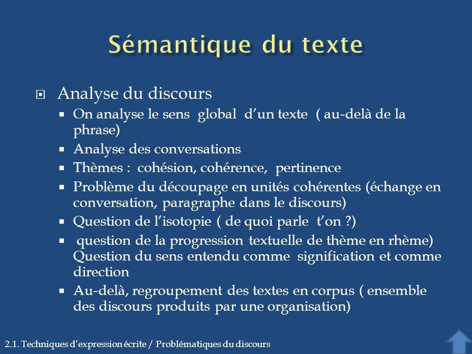 Analyse du discours On analyse le sens global dun texte ( au-delà de la phrase) Analyse des conversations Thèmes : cohésion, cohérence, pertinence Pro