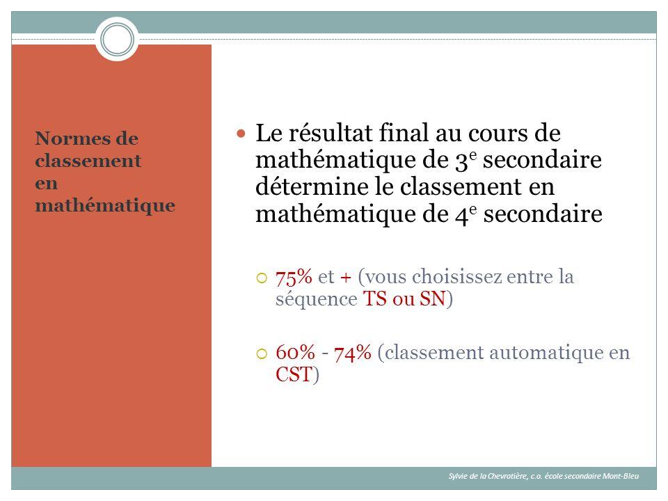 Normes de classement en mathématique Le résultat final au cours de mathématique de 3 e secondaire détermine le classement en mathématique de 4 e secon