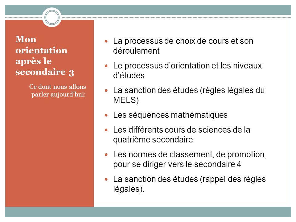 Mon orientation après le secondaire 3 Ce dont nous allons parler aujourdhui: La processus de choix de cours et son déroulement Le processus dorientati
