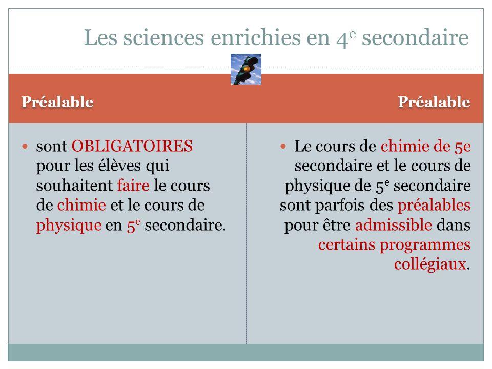 Préalable sont OBLIGATOIRES pour les élèves qui souhaitent faire le cours de chimie et le cours de physique en 5 e secondaire. Le cours de chimie de 5