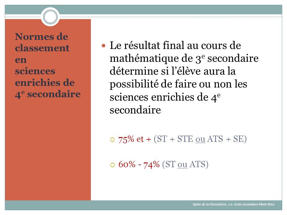 Normes de classement en sciences enrichies de 4 e secondaire Le résultat final au cours de mathématique de 3 e secondaire détermine si lélève aura la
