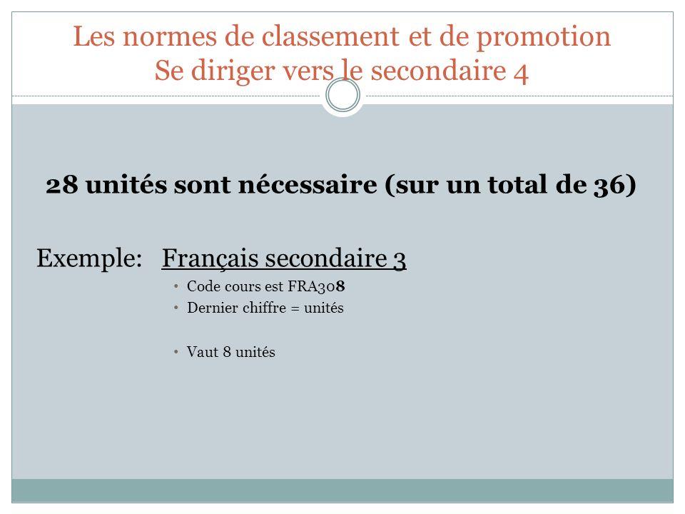 Les normes de classement et de promotion Se diriger vers le secondaire 4 28 unités sont nécessaire (sur un total de 36) Exemple: Français secondaire 3
