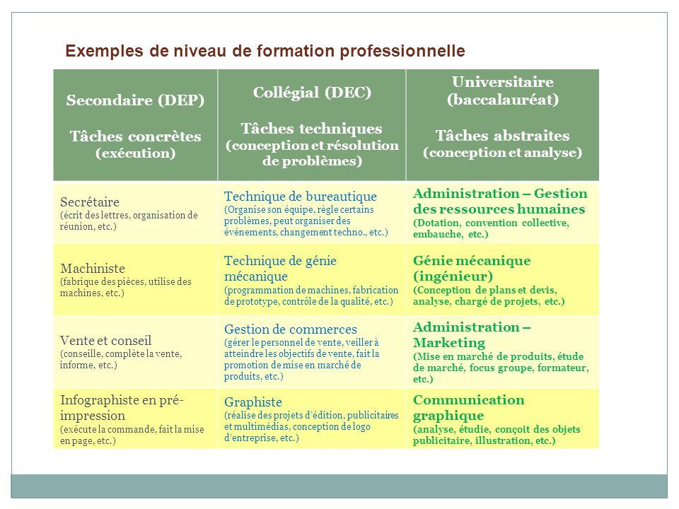 Secondaire (DEP) Tâches concrètes (exécution) Collégial (DEC) Tâches techniques (conception et résolution de problèmes) Universitaire (baccalauréat) T