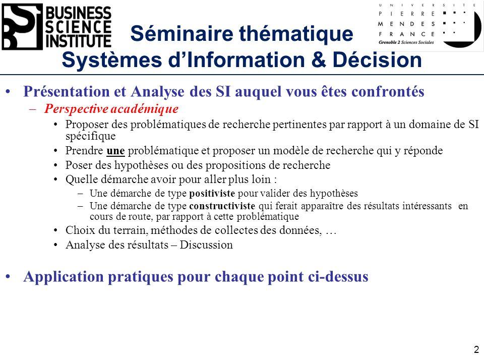Séminaire thématique Systèmes dInformation & Décision Présentation et Analyse des SI auquel vous êtes confrontés –Perspective académique Proposer des