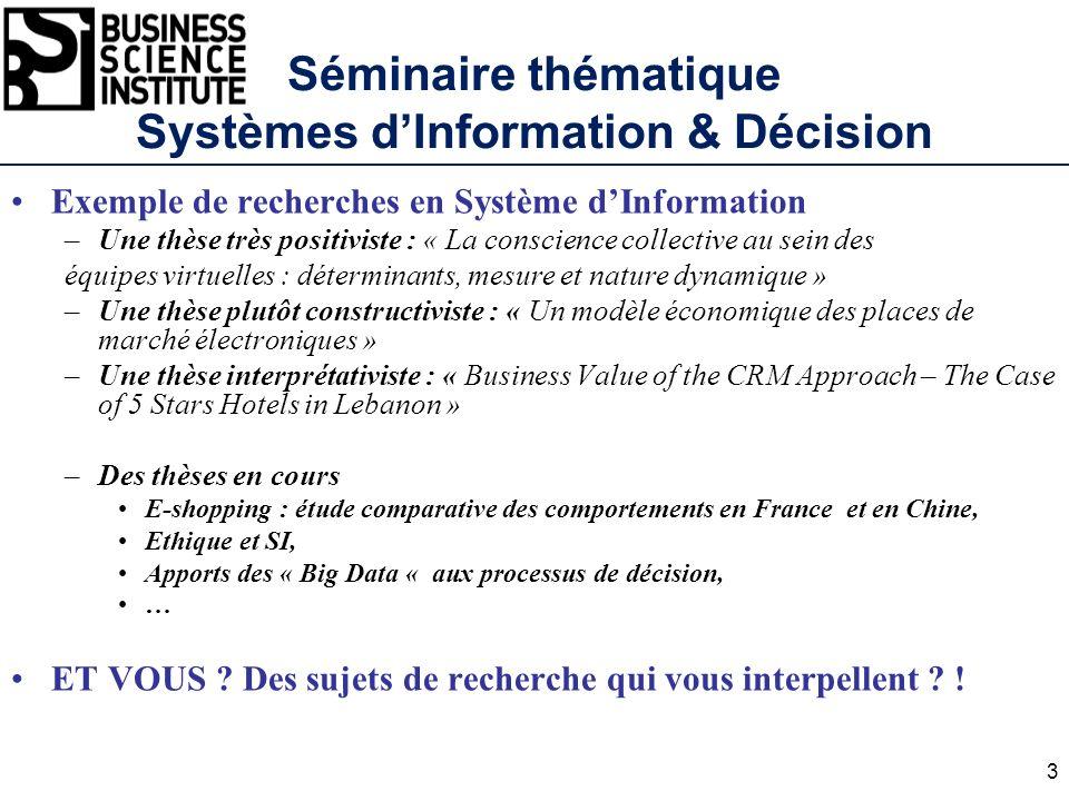 Séminaire thématique Systèmes dInformation & Décision Exemple de recherches en Système dInformation –Une thèse très positiviste : « La conscience coll