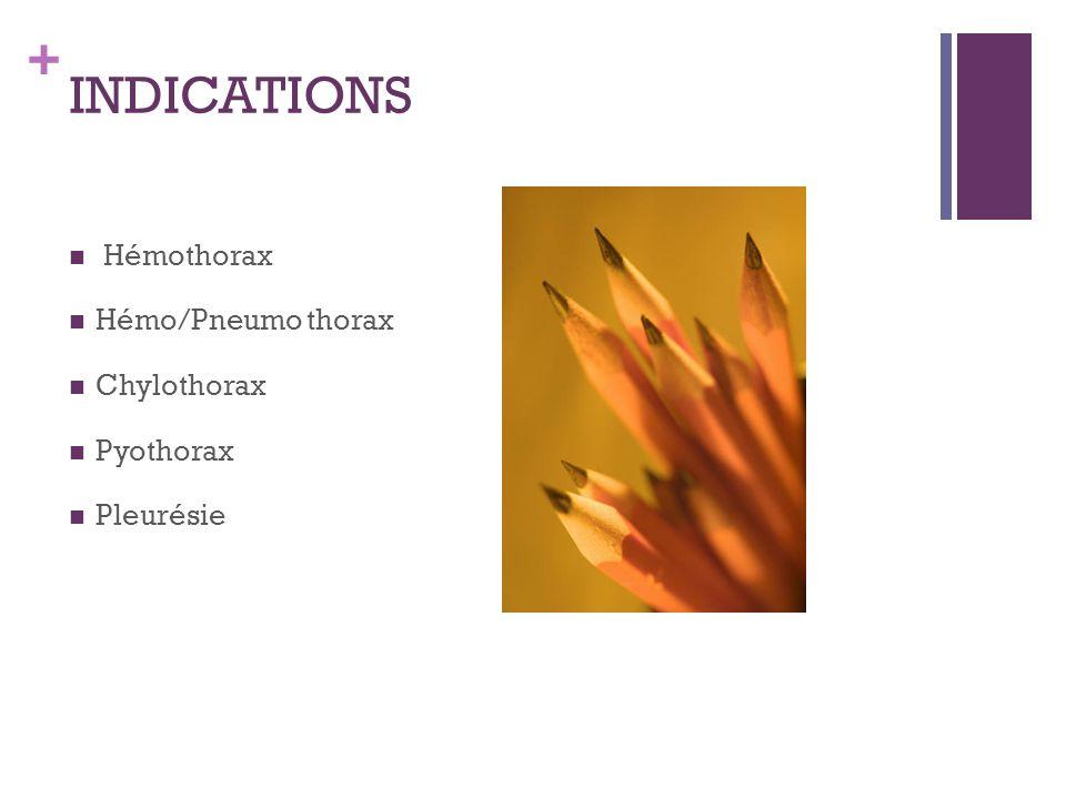 + INDICATIONS Hémothorax Hémo/Pneumo thorax Chylothorax Pyothorax Pleurésie