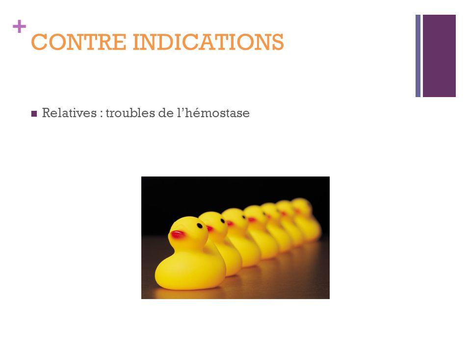 + CONTRE INDICATIONS Relatives : troubles de lhémostase