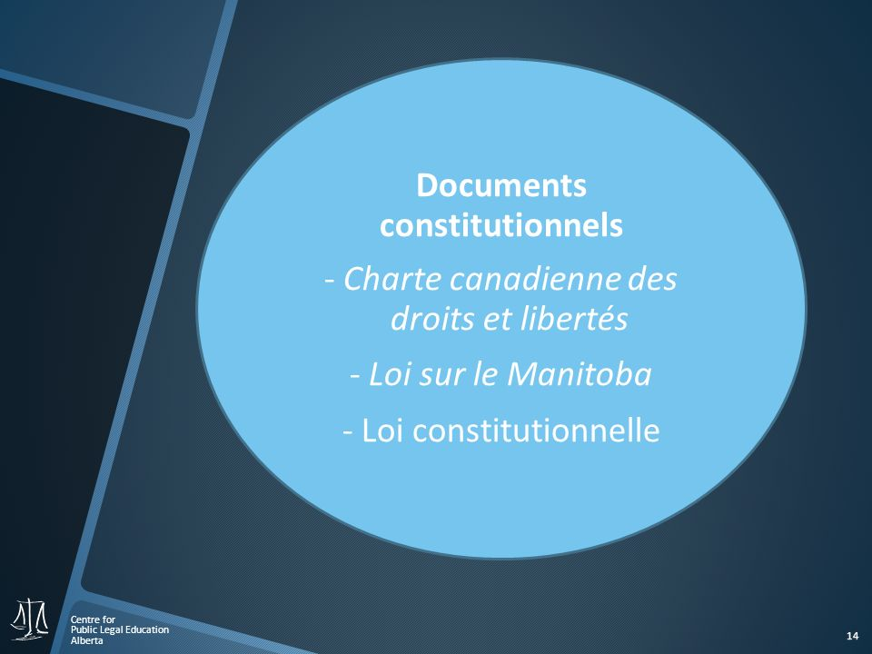 Centre for Public Legal Education Alberta 14 Documents constitutionnels - Charte canadienne des droits et libertés - Loi sur le Manitoba - Loi constit