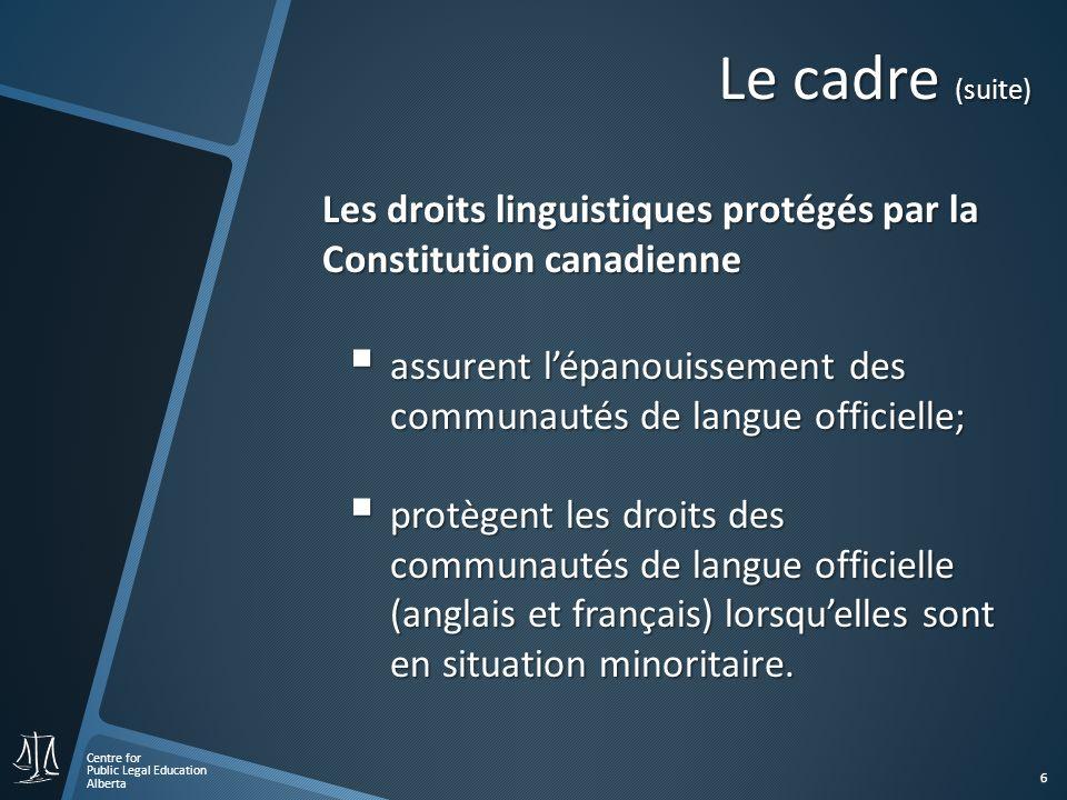 Centre for Public Legal Education Alberta 7 Le cadre (suite) Ces droits linguistiques sont des « droits collectifs ».
