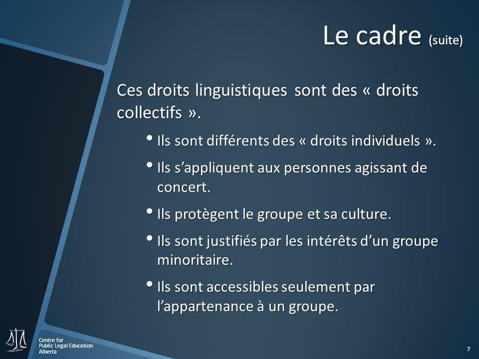 Centre for Public Legal Education Alberta 8 Contexte général Pour comprendre la nature exacte des droits linguistiques constitutionnels, il est important dexaminer… Un droit constitutionnel, cest quoi.