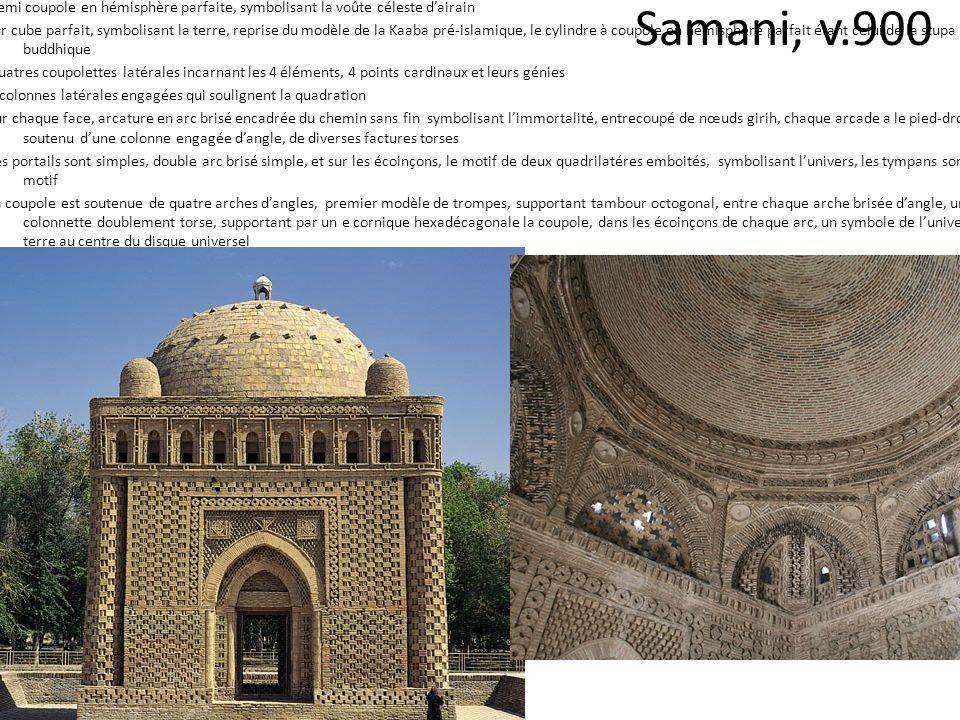 Samani, v.900 Demi coupole en hémisphère parfaite, symbolisant la voûte céleste dairain sur cube parfait, symbolisant la terre, reprise du modèle de l