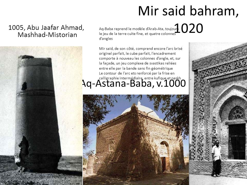 Aq-Astana-Baba, v.1000 Mir said bahram, 1020 1005, Abu Jaafar Ahmad, Mashhad-Mistorian Aq-Baba reprend le modèle dArab-Ata, toujours le jeu de la terr