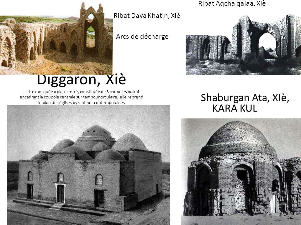Diggaron, Xiè cette mosquée à plan centré, constituée de 8 coupoles balkhi encadrant la coupole centrale sur tambour circulaire, elle reprend le plan