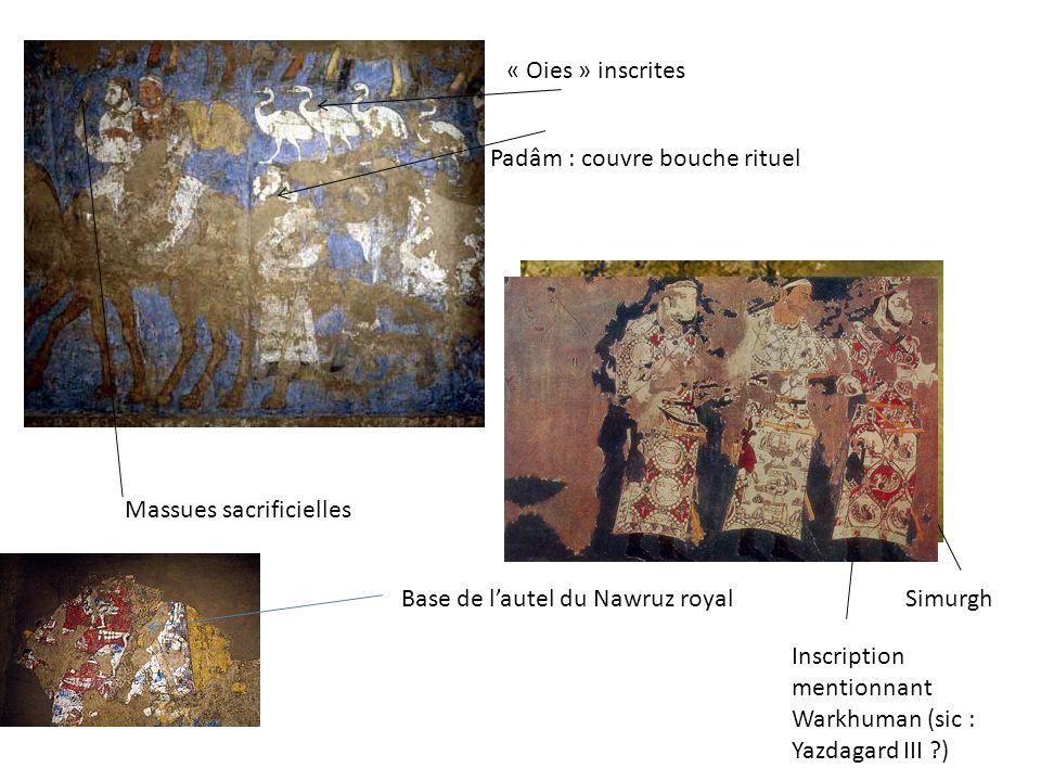 Padâm : couvre bouche rituel « Oies » inscrites Massues sacrificielles Base de lautel du Nawruz royal Inscription mentionnant Warkhuman (sic : Yazdaga