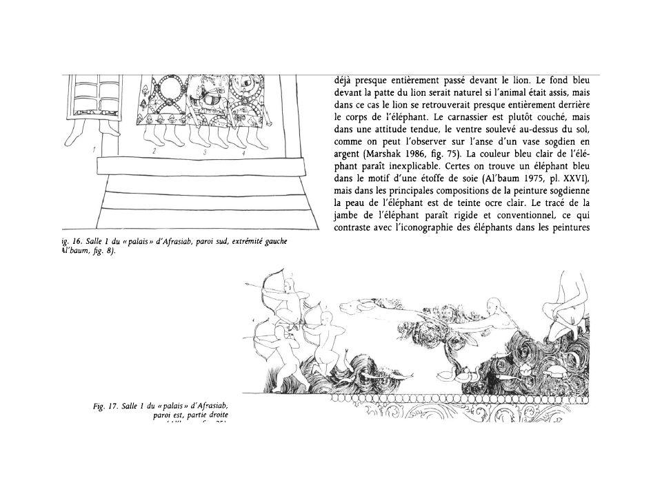 Shirin Biqa Aqa, 1385 et Tuman Aqa, 1405 Ici, changement complet de paradygme : mes muqarnas apparus sous les arches dans la période intermédiaire et qui ornaient les arches dangles depuis lépoque chaghatay sont précédé dune palme monumentale, mais le plus important nest pas là : il sagit de la mosaïque de tesson de majolique taillés, en second lieu, la frise de lencadrement, constitué de thulluth classique blanc mêlé dune frise de kufique fleuri doré, reste un naskh diwani sur le contour-voussure de larc principal et une dédicace au dessus de larc mineur en thuluth doré simple, lornementation des écoinçons, comme de lencadrement et des colonnettes est un décor floral complexe de fleurs qui reprend dans les écoinçons le double symbole solaire et lentrelac végétal à base de rinceaux de vigne classique, mais agrémenté de fleurs blanches, le muqarnas ne fait pas exception, il est aussi recouvert de mosaïque florale.