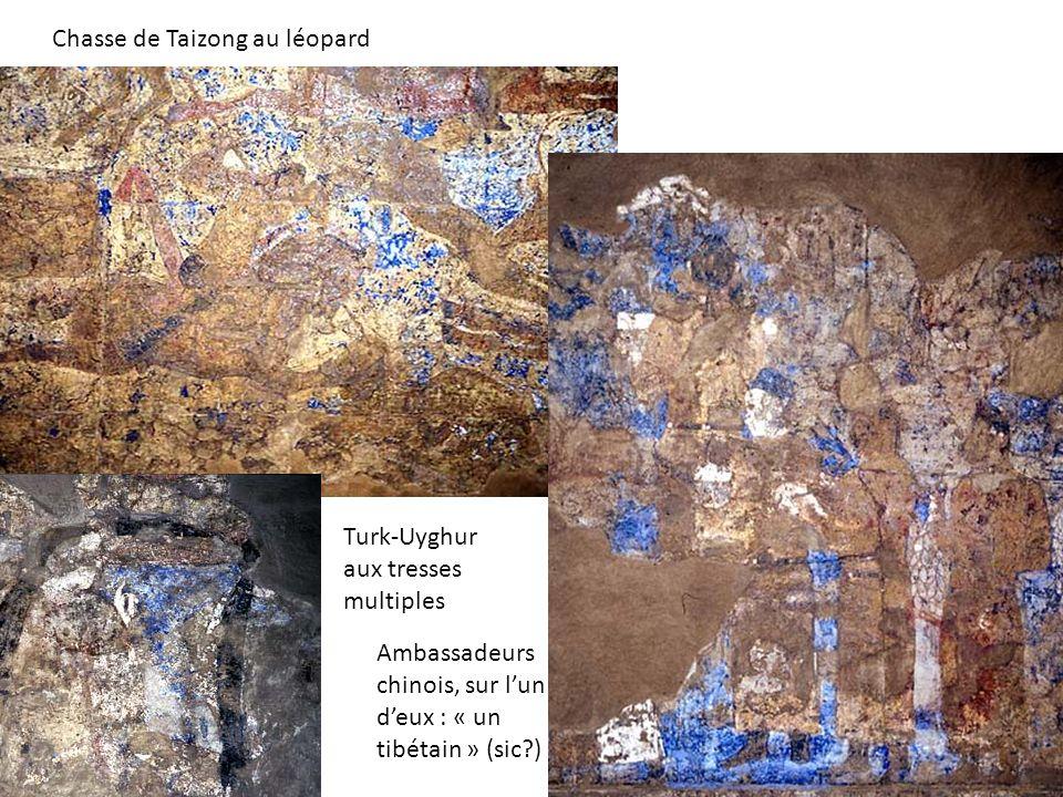 Chasse de Taizong au léopard Ambassadeurs chinois, sur lun deux : « un tibétain » (sic?) Turk-Uyghur aux tresses multiples
