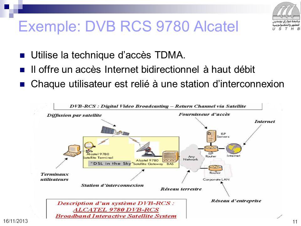 11 16/11/2013 Exemple: DVB RCS 9780 Alcatel Utilise la technique daccès TDMA. Il offre un accès Internet bidirectionnel à haut débit Chaque utilisateu