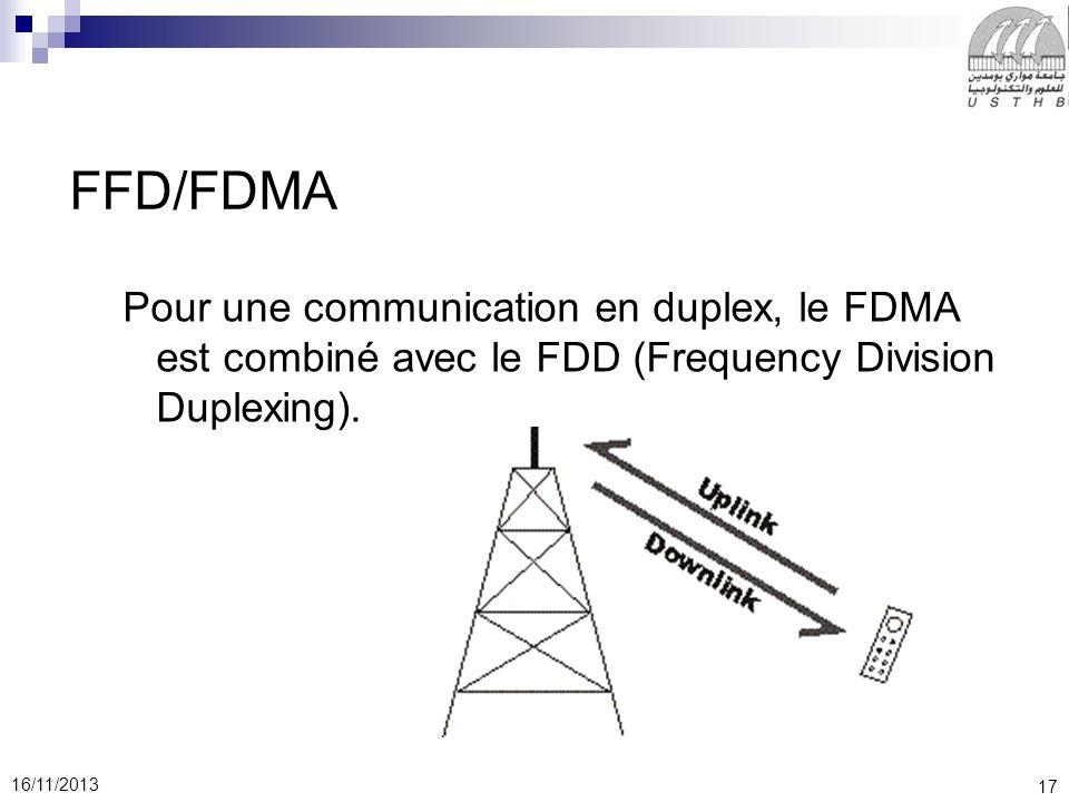 17 16/11/2013 FFD/FDMA Pour une communication en duplex, le FDMA est combiné avec le FDD (Frequency Division Duplexing).