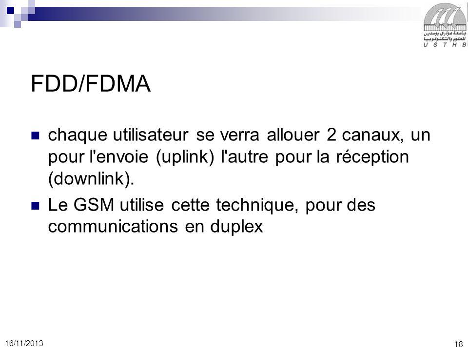 18 16/11/2013 FDD/FDMA chaque utilisateur se verra allouer 2 canaux, un pour l'envoie (uplink) l'autre pour la réception (downlink). Le GSM utilise ce