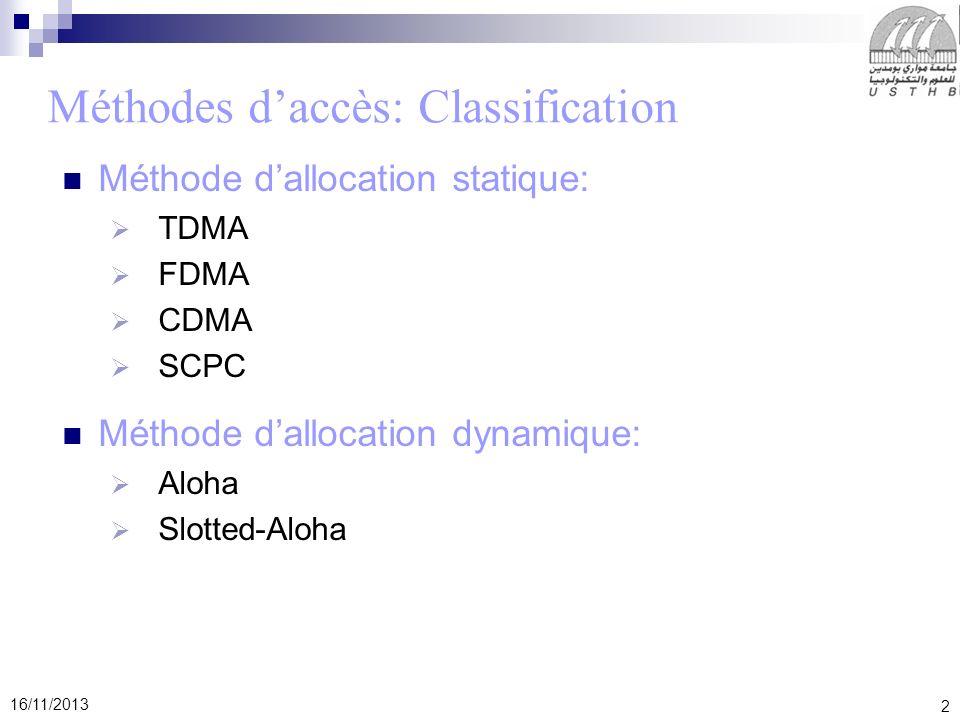 2 16/11/2013 Méthodes daccès: Classification Méthode dallocation statique: TDMA FDMA CDMA SCPC Méthode dallocation dynamique: Aloha Slotted-Aloha