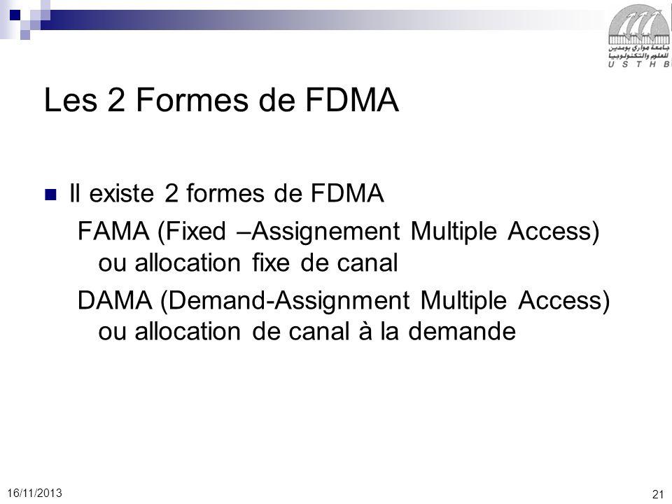 21 16/11/2013 Les 2 Formes de FDMA Il existe 2 formes de FDMA FAMA (Fixed –Assignement Multiple Access) ou allocation fixe de canal DAMA (Demand-Assig