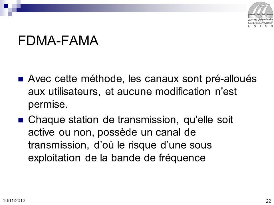 22 16/11/2013 FDMA-FAMA Avec cette méthode, les canaux sont pré-alloués aux utilisateurs, et aucune modification n'est permise. Chaque station de tran