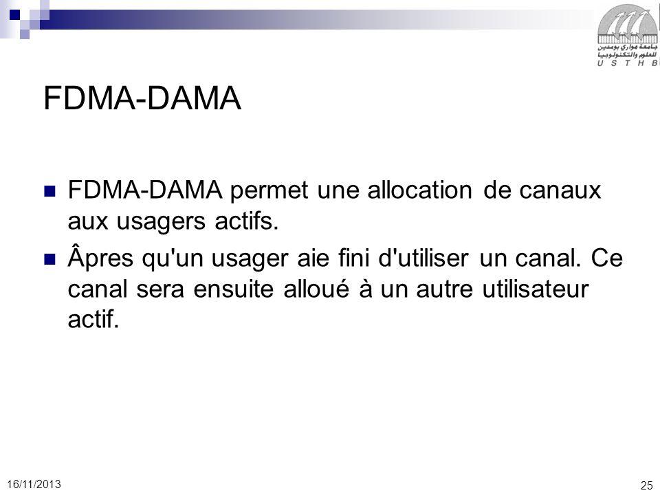 25 16/11/2013 FDMA-DAMA FDMA-DAMA permet une allocation de canaux aux usagers actifs. Âpres qu'un usager aie fini d'utiliser un canal. Ce canal sera e