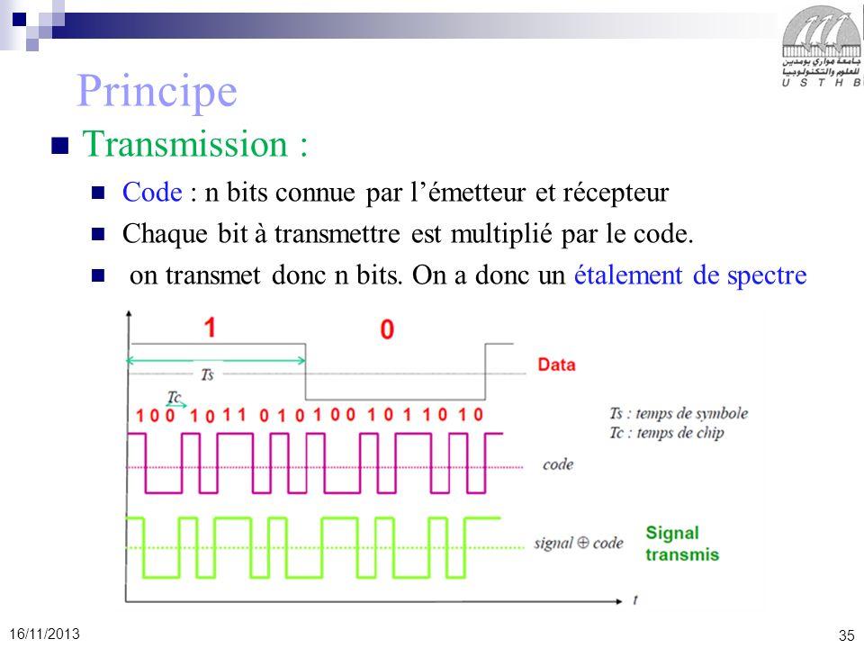 35 16/11/2013 Principe Transmission : Code : n bits connue par lémetteur et récepteur Chaque bit à transmettre est multiplié par le code. on transmet