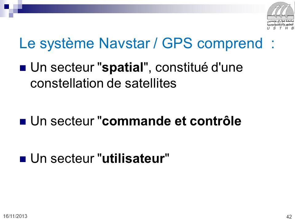 42 16/11/2013 Le système Navstar / GPS comprend : Un secteur