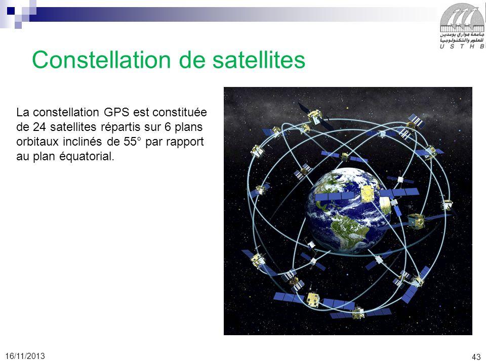 43 16/11/2013 Constellation de satellites La constellation GPS est constituée de 24 satellites répartis sur 6 plans orbitaux inclinés de 55° par rappo
