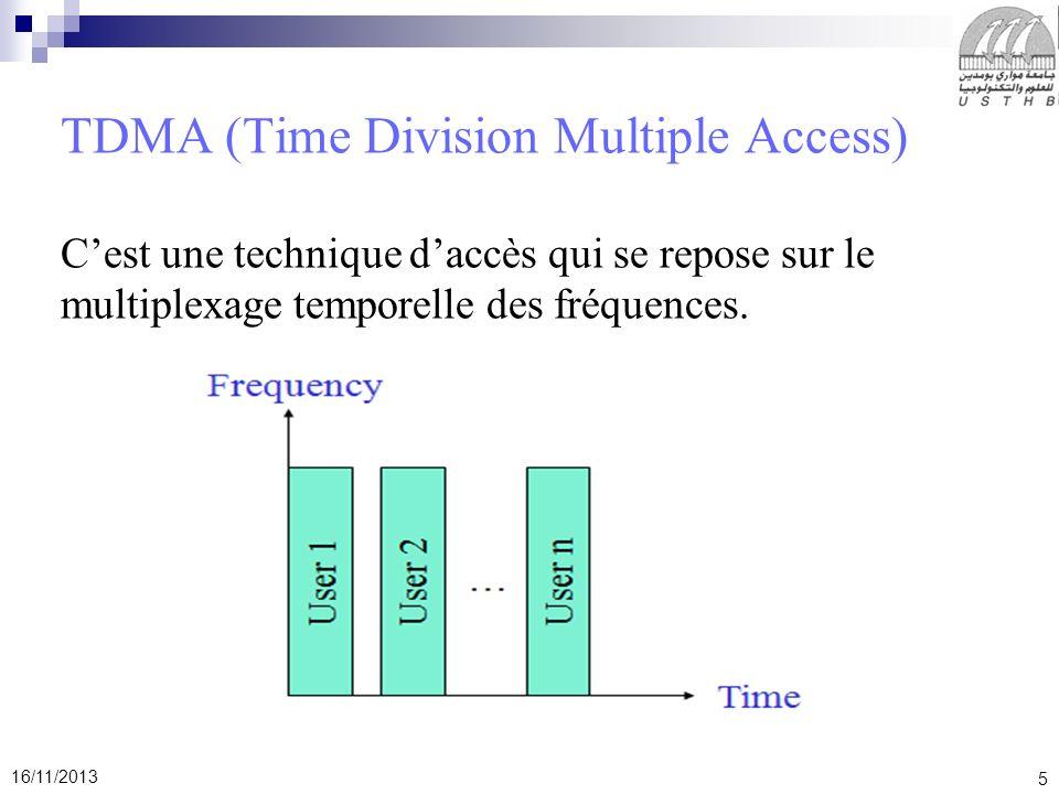 5 16/11/2013 TDMA (Time Division Multiple Access) Cest une technique daccès qui se repose sur le multiplexage temporelle des fréquences.