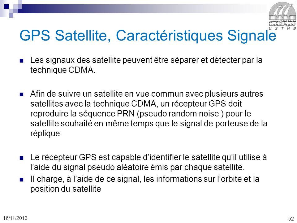 52 16/11/2013 GPS Satellite, Caractéristiques Signale Les signaux des satellite peuvent être séparer et détecter par la technique CDMA. Afin de suivre