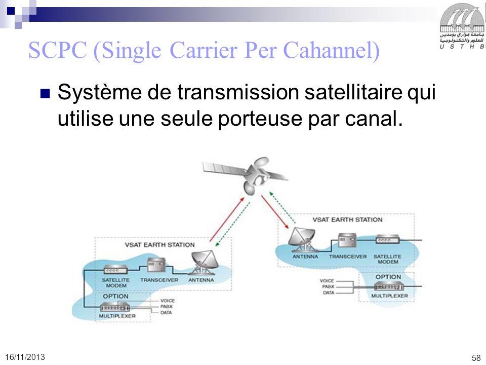 58 16/11/2013 SCPC (Single Carrier Per Cahannel) Système de transmission satellitaire qui utilise une seule porteuse par canal.