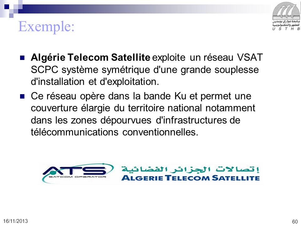 60 16/11/2013 Exemple: Algérie Telecom Satellite exploite un réseau VSAT SCPC système symétrique d'une grande souplesse d'installation et d'exploitati