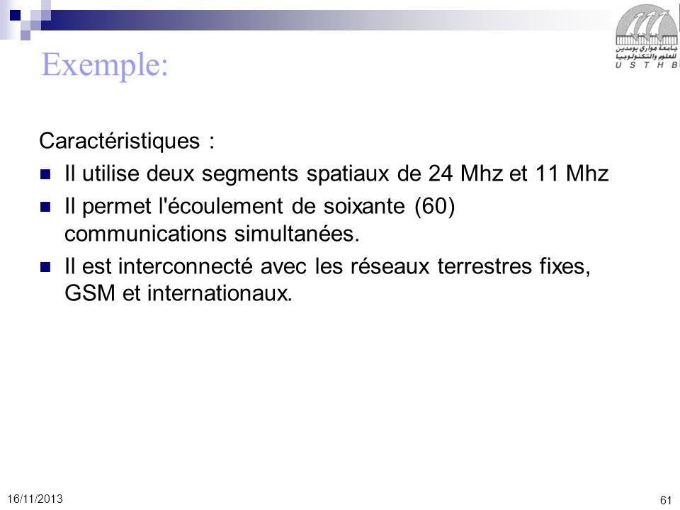 61 16/11/2013 Exemple: Caractéristiques : Il utilise deux segments spatiaux de 24 Mhz et 11 Mhz Il permet l'écoulement de soixante (60) communications