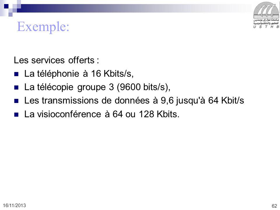 62 16/11/2013 Exemple: Les services offerts : La téléphonie à 16 Kbits/s, La télécopie groupe 3 (9600 bits/s), Les transmissions de données à 9,6 jusq