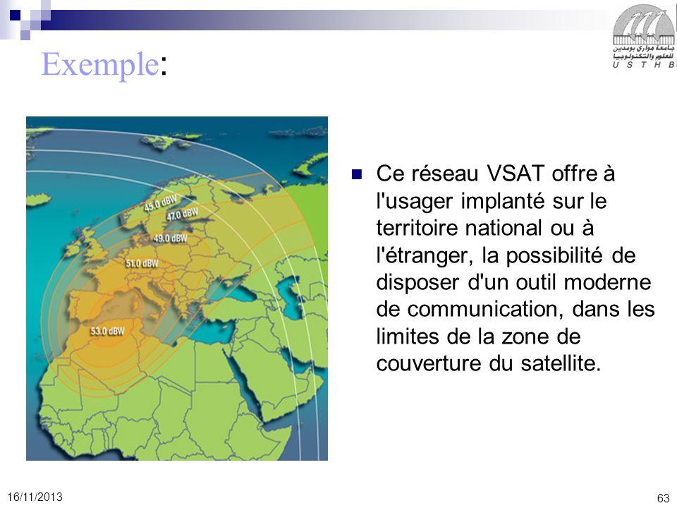 63 16/11/2013 Exemple : Ce réseau VSAT offre à l'usager implanté sur le territoire national ou à l'étranger, la possibilité de disposer d'un outil mod