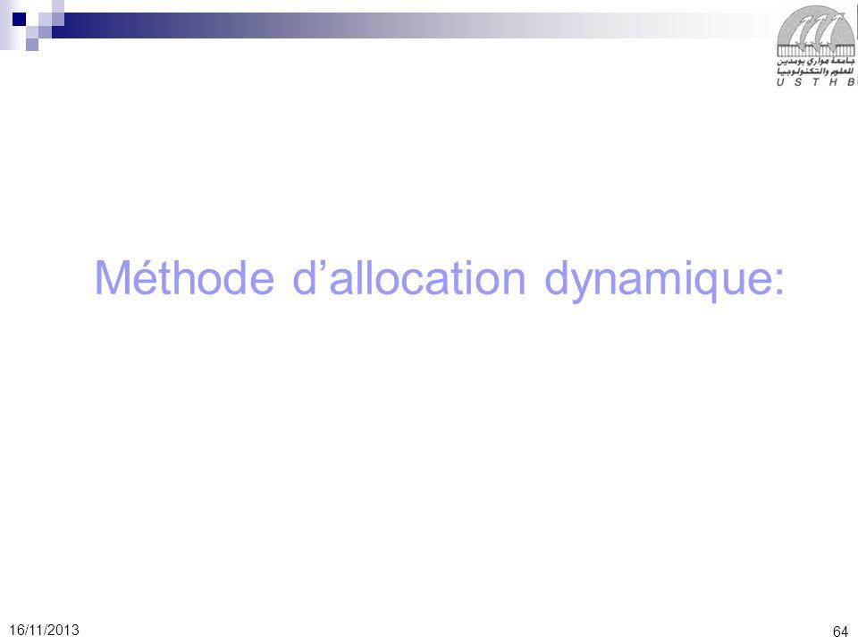 64 16/11/2013 Méthode dallocation dynamique: