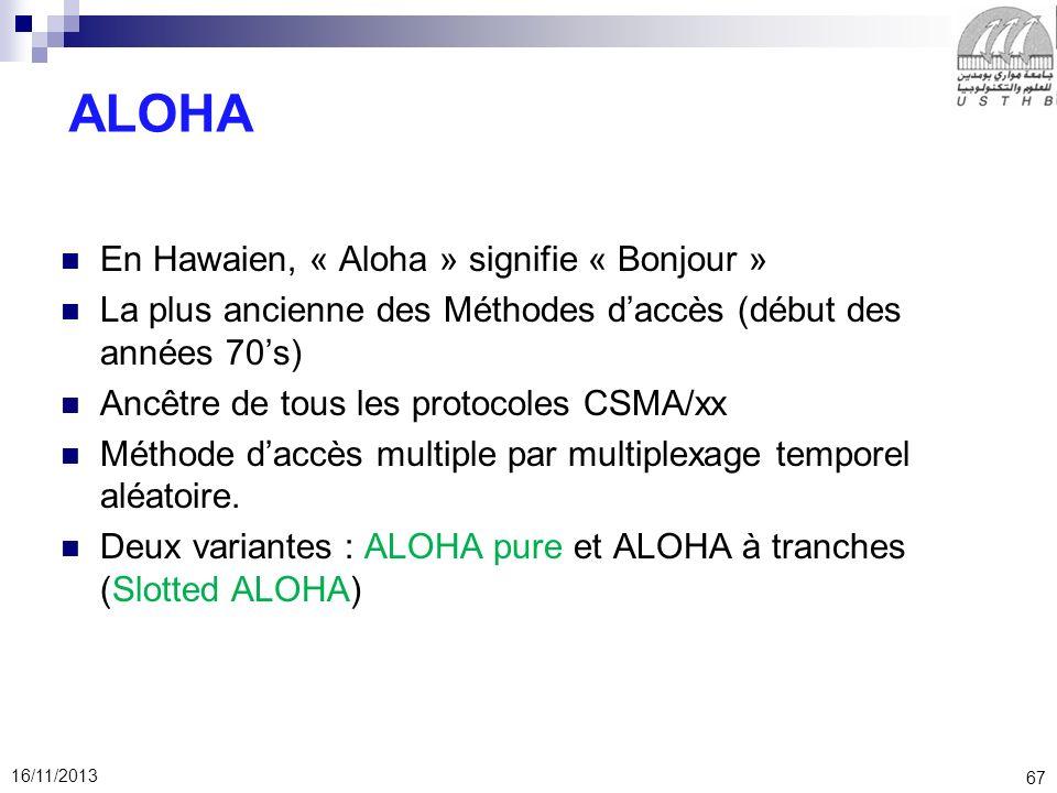 67 16/11/2013 ALOHA En Hawaien, « Aloha » signifie « Bonjour » La plus ancienne des Méthodes daccès (début des années 70s) Ancêtre de tous les protoco