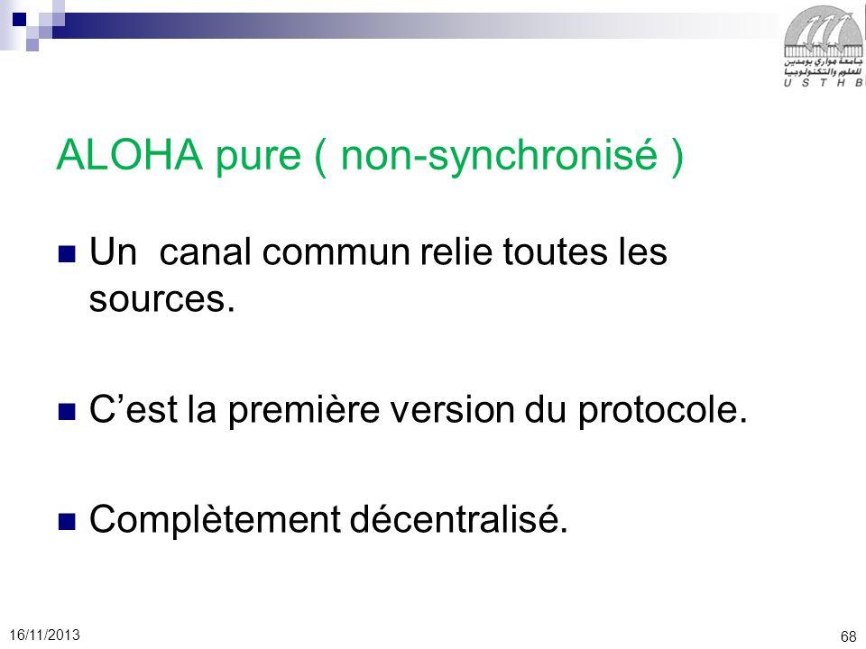 68 16/11/2013 ALOHA pure ( non-synchronisé ) Un canal commun relie toutes les sources. Cest la première version du protocole. Complètement décentralis