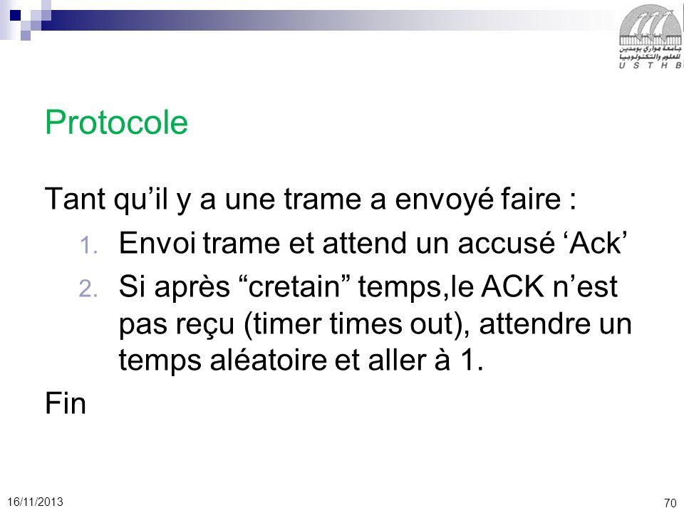 70 16/11/2013 Protocole Tant quil y a une trame a envoyé faire : 1. Envoi trame et attend un accusé Ack 2. Si après cretain temps,le ACK nest pas reçu