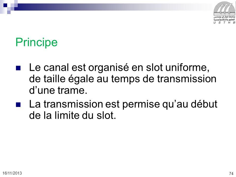 74 16/11/2013 Principe Le canal est organisé en slot uniforme, de taille égale au temps de transmission dune trame. La transmission est permise quau d